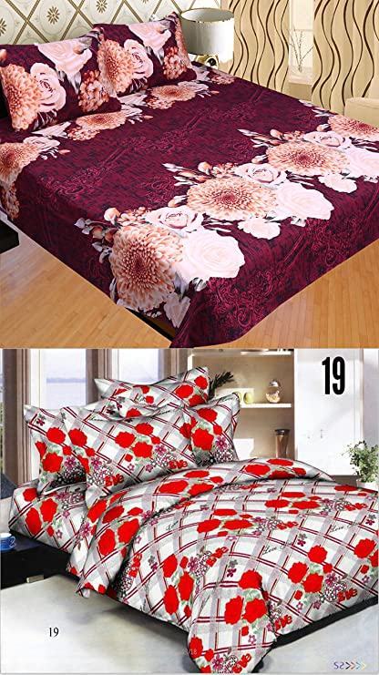 Charming STOP N SHOP Poly Cotton 2 Bedsheets With 4 Pillow Covers