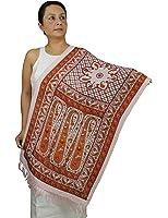 Handmade Indian Rectangular Hand Painted Silk Scarf for Women