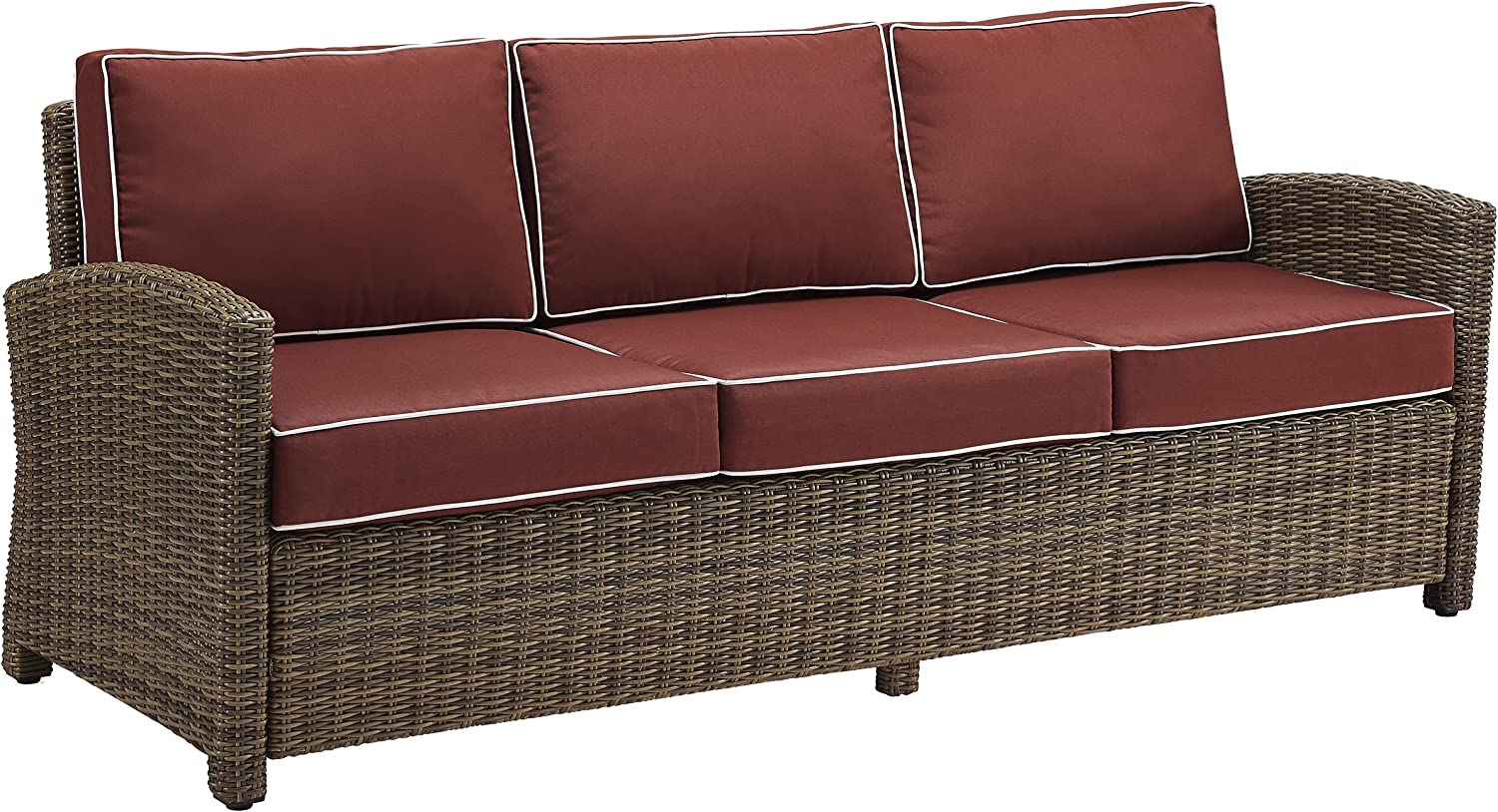 Crosley Furniture Ko70049wb Sg Bradenton Outdoor Wicker Sofa Brown With Sangria Cushions Garden Outdoor