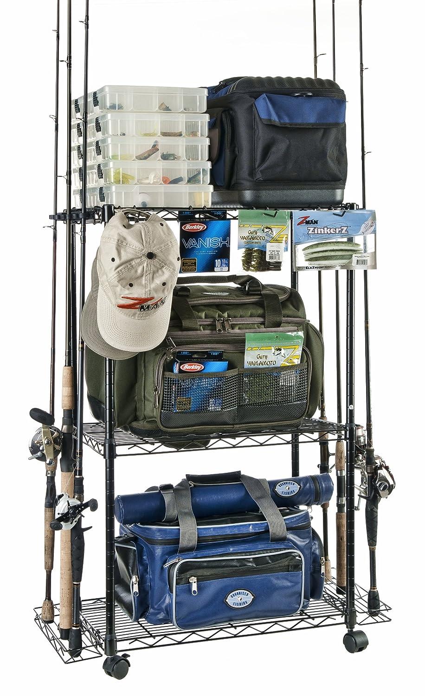 Amazon.com : Organized Fishing Adjustable 3-Shelf Rolling Tackle ...