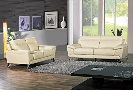 Cortesi Home Phoenix Genuine Leather Sofa U0026 Loveseat Set, Cream