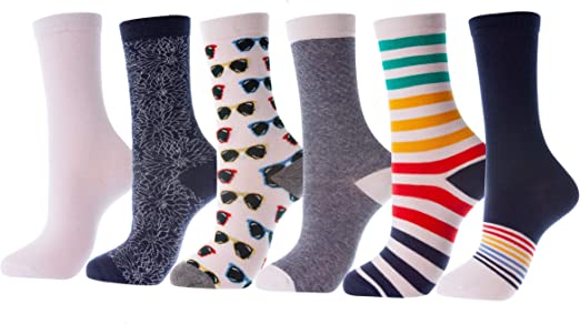 Lot of 6 Pairs Women Ladies Girls Long Crew Ankle BOLD Pattern Socks 9-11