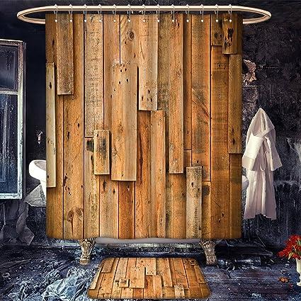 Amazoncom Wooden Extra Wide Shower Curtain Bath Mat Set Lodge - Lodge style bathroom