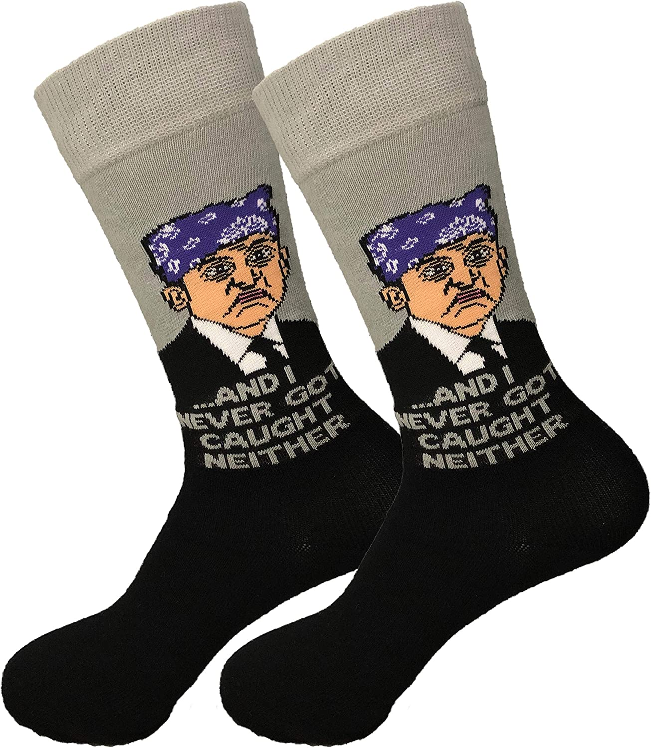 Balanced Co. Prison Mike Dress Socks Michael Scott Funny Socks Crazy Socks Casual Cotton Crew Socks