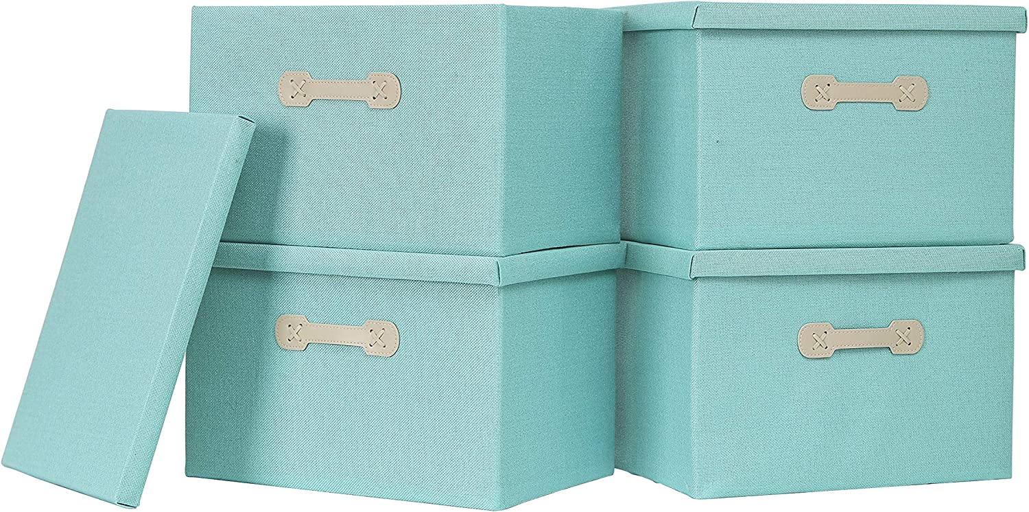 Enzk&Unity Foldable Storage Bins with Lids Linen Fabric Lidded Storage Baskets with Handle Organizer Box for Shelf Nursery Home Bedroom Office Closet, 4 Pack, Teal