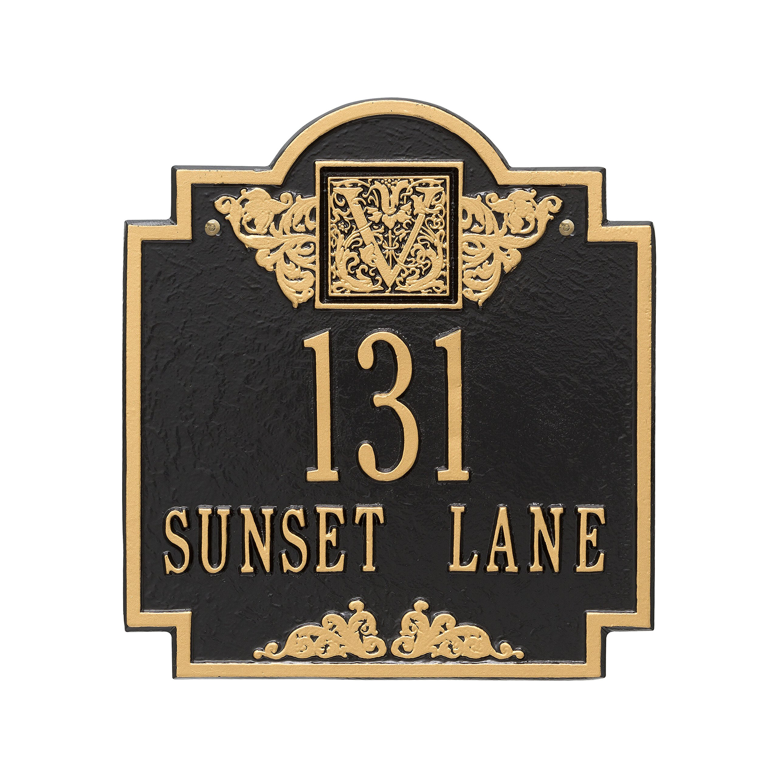 Whitehall Products Square Black/Gold Monogram Standard Wall Two Line Address Plaque