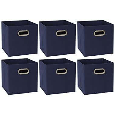 Household Essentials 81-1 Foldable Fabric Storage Bins | Set of 6 Cubby Cubes with Handles | Navy Blue