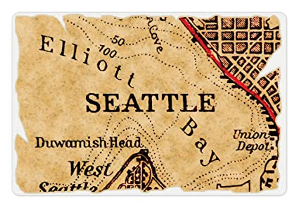 Amazon.com: Lunarable Seattle Pet Mat for Food and Water, Vintage ...
