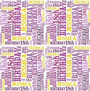 Personalised 18th Birthday Gift Wrap Any Name Age Word Art Design