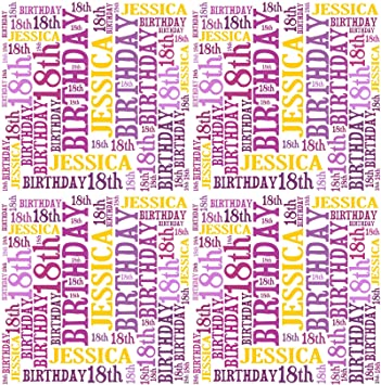 Personalised 18th birthday gift wrap any name age word art design personalised 18th birthday gift wrap any name age word art design negle Choice Image