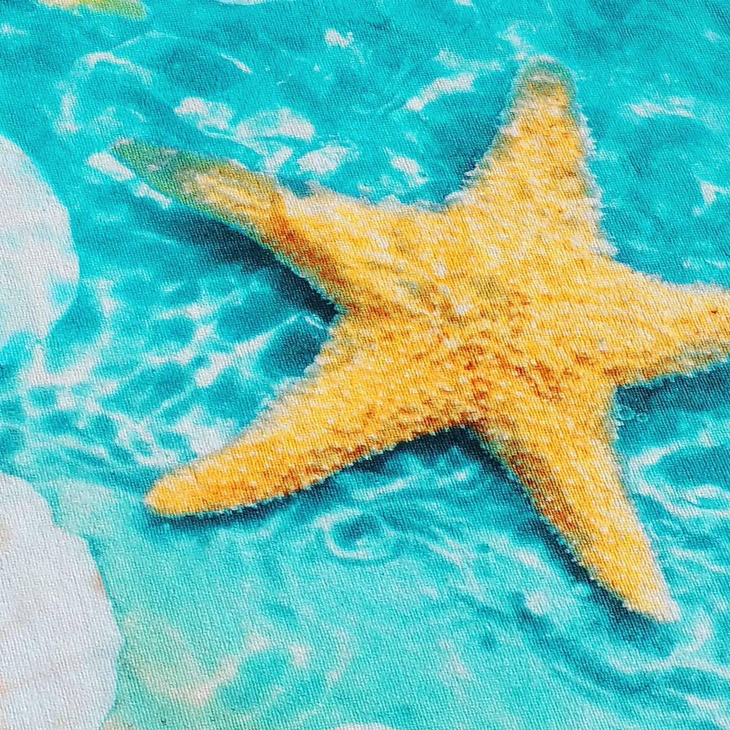 Blue and Sand Starfish /& Seashells Beach Towel 30 x 60 inch Velour Terry 100/% Cotton