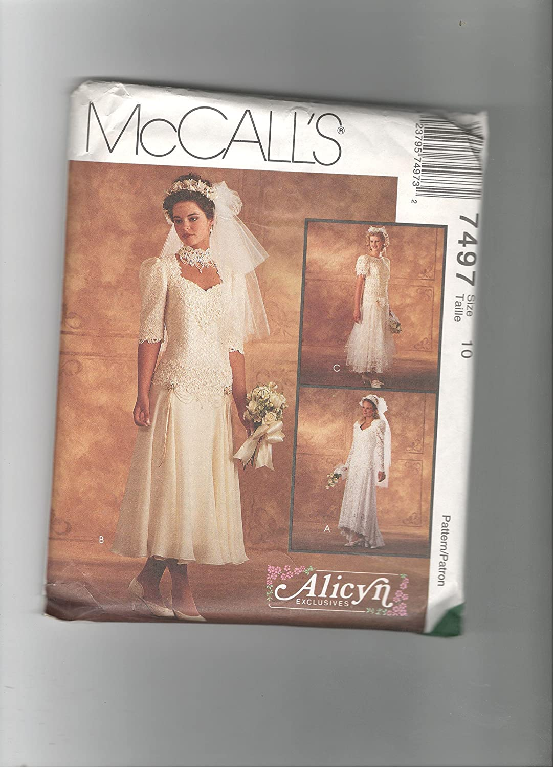 Mccalls 7497 Sewing Pattern For Misses 10 Alicyn Drop Waist Lace Or Sheer Overlay Hathered Skirt And Sleeve Option Bridal Gowns Wedding Dress Bridesmaid Dress Mccalls Home Kitchen