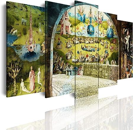 DekoArte - Cuadros Modernos Impresión de Imagen Artística Digitalizada   Lienzo Decorativo Para Tu Salón o Dormitorio   Estilo Abstractos Arte El Bosco El Jardín De Las Delicias   5 Piezas 150 x 80 cm: Amazon.es: Hogar