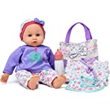 """14"""" Baby Doll Travel Carry Case Set, Adorable Doll comes Dressed in Clothes, Diaper and Hat, Includes Baby Doll Diaper Bag Set, Additional Onesie, Bib, and Milk Bottle Accessories"""