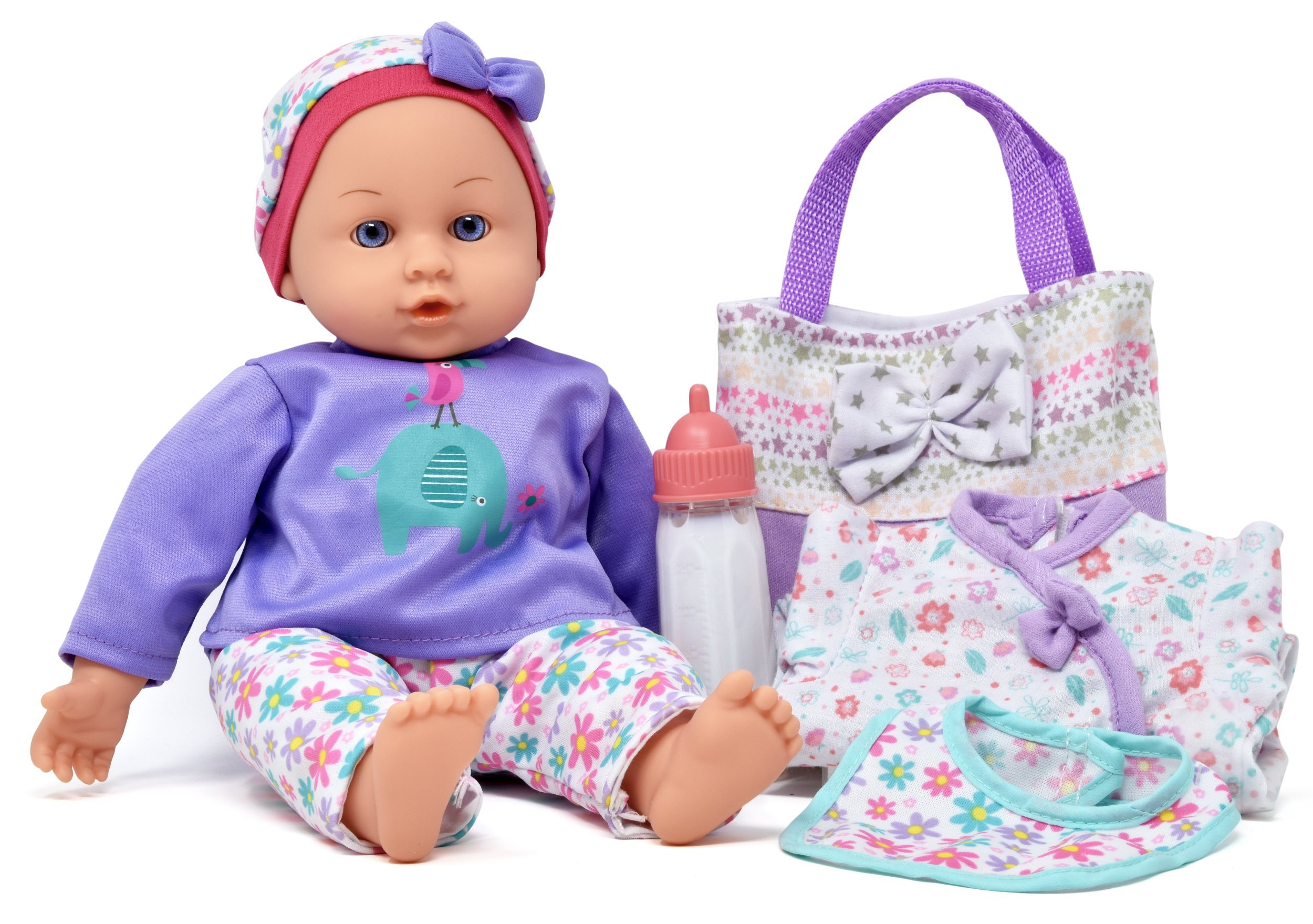 14'' Baby Doll Travel Carry Case Set, Adorable Doll comes Dressed in Clothes, Diaper and Hat, Includes Baby Doll Diaper Bag Set, Additional Onesie, Bib, and Milk Bottle Accessories
