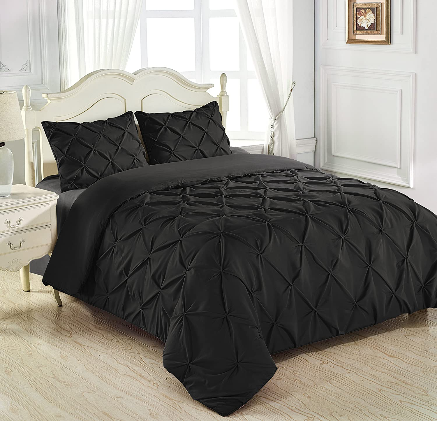 King & Queen Home Reinforced Double Stitch 3 Piece Pinch Pleat Comforter Set (Full, Black