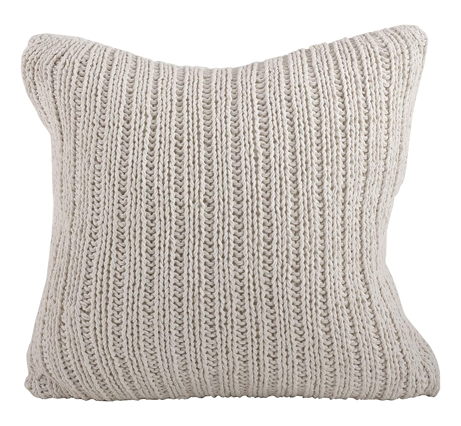 SARO LIFESTYLE 1312 Darcy Knitted Collection Cotton Knitten Design Down Filled Throw Pillow, Ivory 1312.I20S