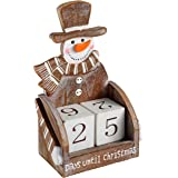 WeRChristmas Wooden Snowman Advent Calendar Christmas Decoration, Wood, 16 cm - Multi-Colour