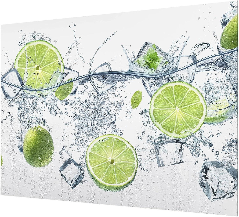 Quer 3:4 HxB: 59cm x 80cm Erfrischende Limette Bilderwelten Spritzschutz Glas