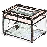 J Devlin Box 583 Beveled Glass Jewelry Box Translucent Champagne Trim Heart Charm Romantic Keepsake Gift
