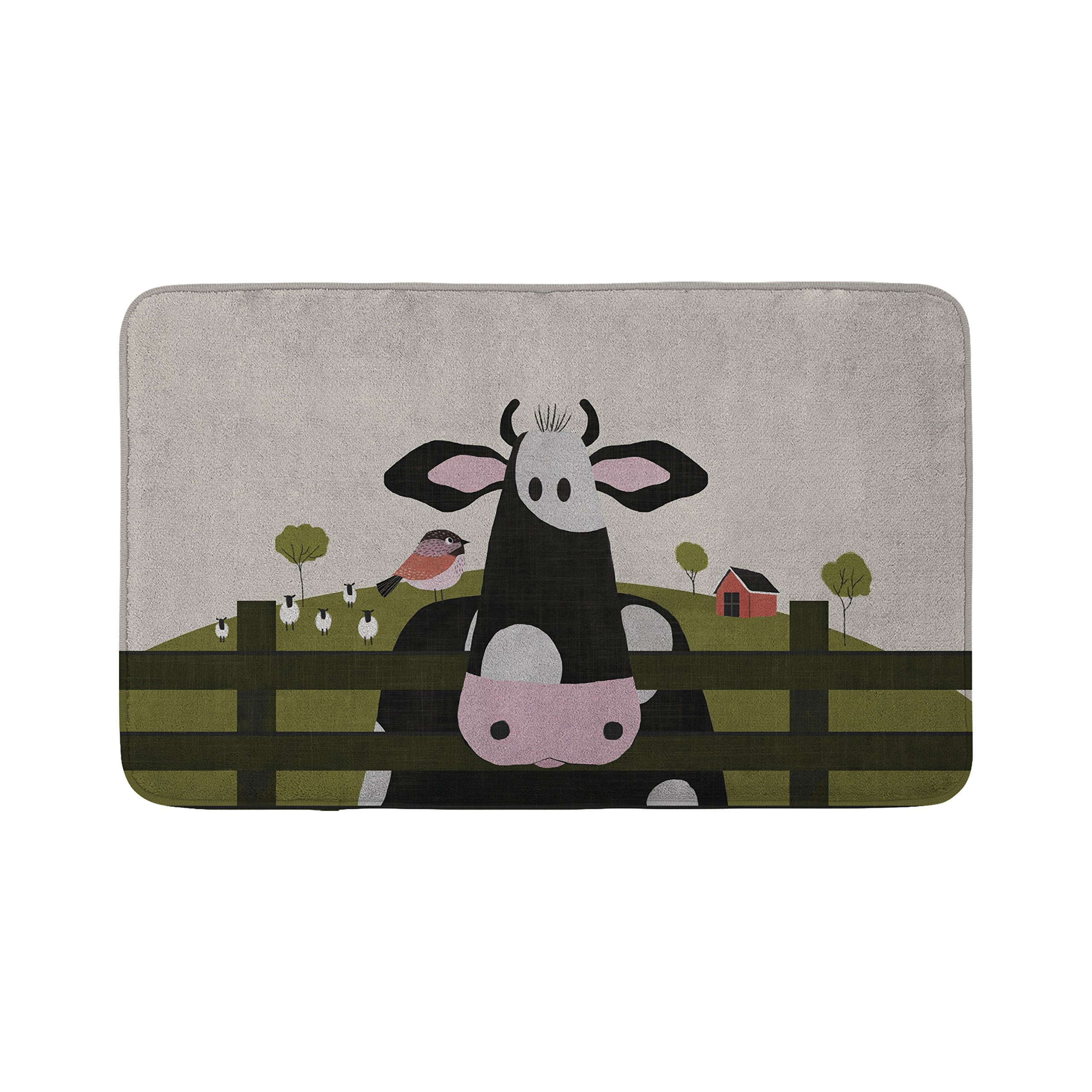 Mouse + Magpie Caley the Cow Farm Animal Bath Mat, Skid-Proof, Memory Foam, Soft, Quick-Dry Microfiber, 31''x19'' for Toddler, Kid, Child Bathroom