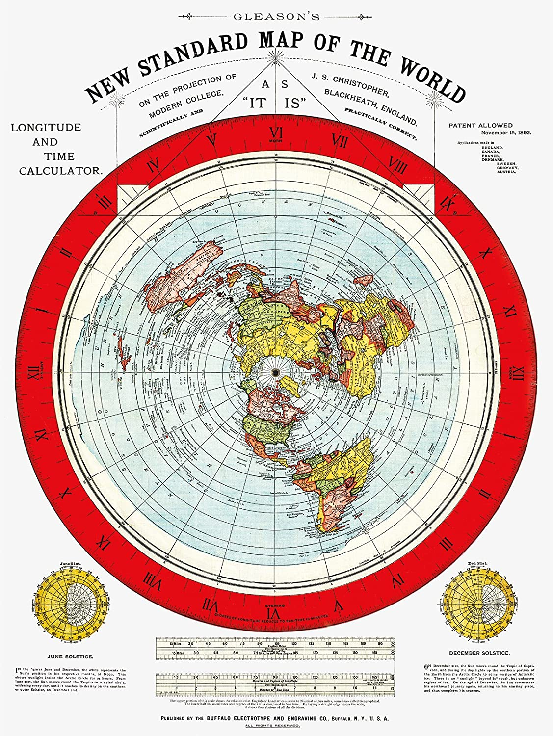 Flat Earth Map Hd Amazon.com: Flat Earth Map   Gleason's New Standard Map of The