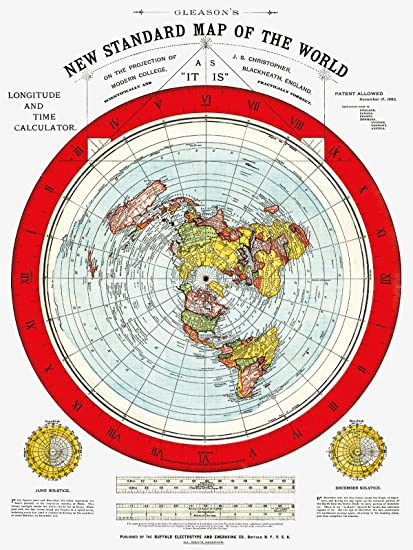Amazon.com: Flat Earth Map   Gleason's Standard Map of The World
