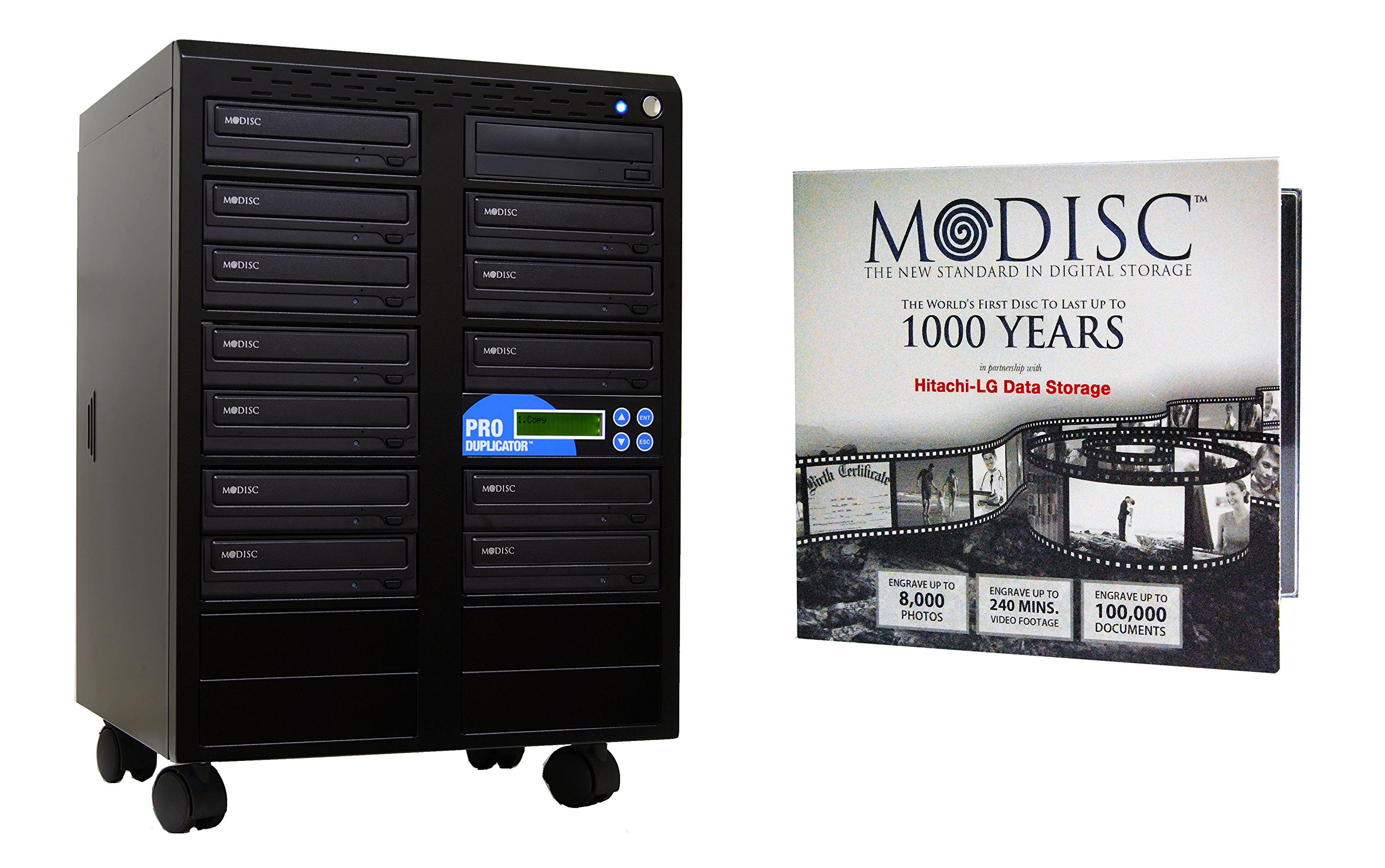 Produplicator 1 to 12 24X M-Disc Support CD DVD Duplicator Bundle with 1 Pack M-DISC, Nero Essentials Burning Software (Standalone Duplication Tower)