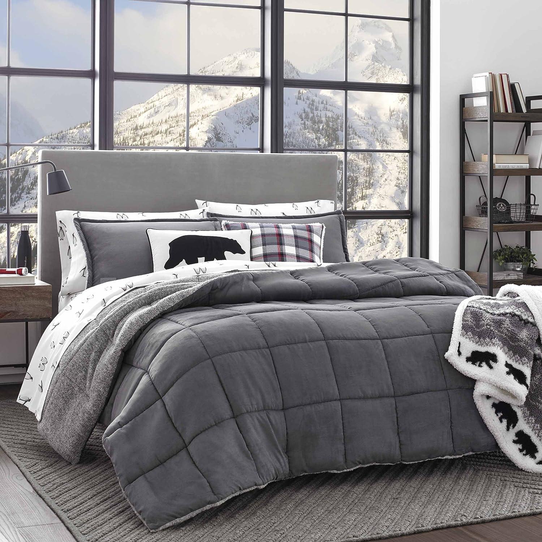 Eddie Bauer Sherwood Sherpa Comforter Set, Full/Queen, Grey