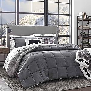 Eddie Bauer Sherwood Sherpa Comforter Set, King, Grey
