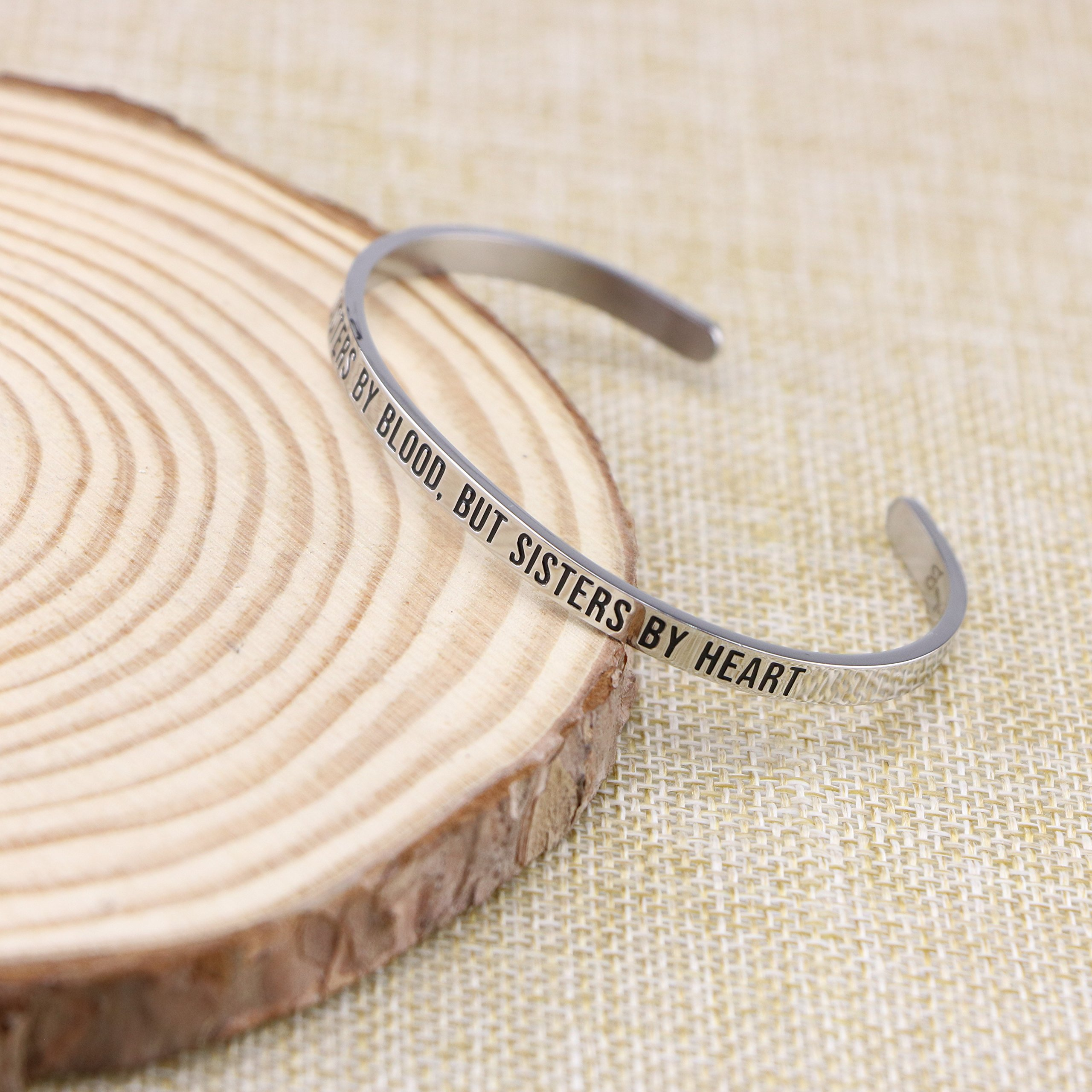 Joycuff Best Friend Bracelet Cuff Engravable Mantra Bangle BFF Jewelry Gifts for Her Not sisters by blood, but sisters by heart by Joycuff (Image #3)