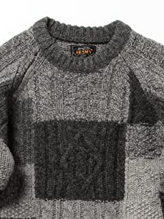 Crazy Pattern Cable Patchwork Wool Crewneck Sweater 11-15-0693-048: Charcoal