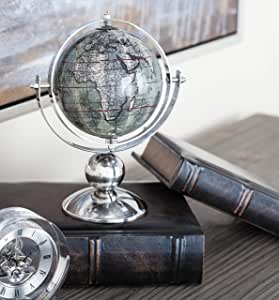 """Deco 79 43487 Stainless Steel and PVC Decorative Globe, 8"""" L x 5"""" W x 10"""" H, Silver"""
