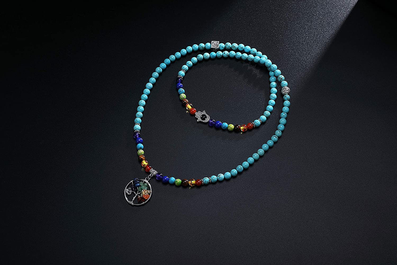 XIANNVXI 108 Mala Prayer Beads Wrap Bracelet 7 Chakra Healing Crystals Yoga Meditation Bracelets Necklace Natural Stone Tree of Life Bracelets