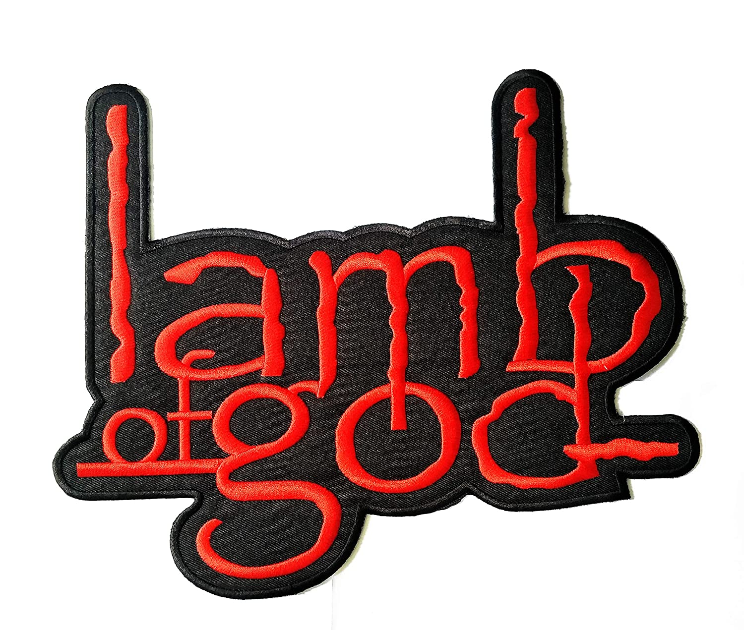 8.5 ''X 10'' Big Jumbo Black Red Lamb of god Music Band Logo Jacket t-Shirt Jeans Polo Patch Iron on Embroidered Logo Motorcycle Rider Biker Patch by Tour les jours Shop