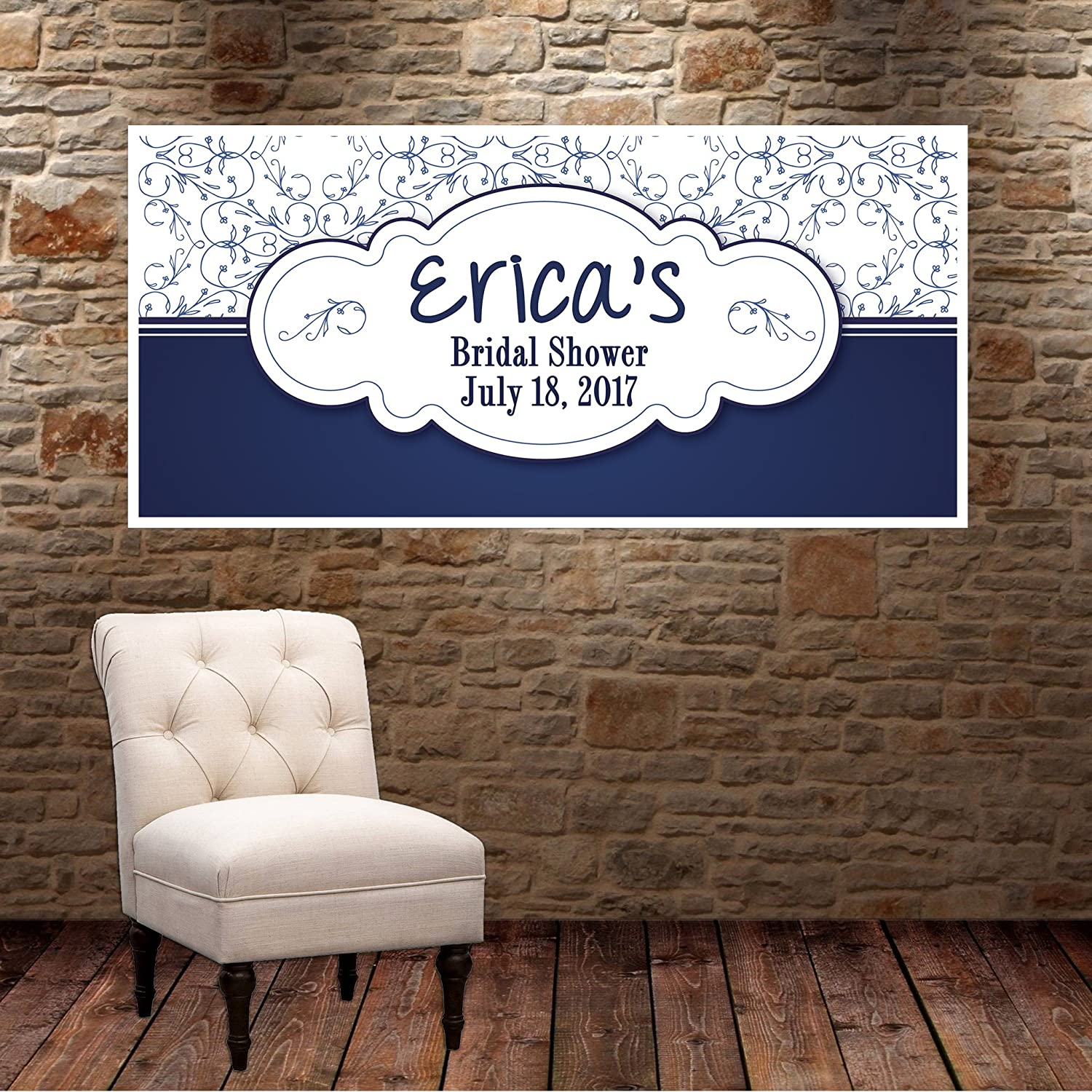 Blue Ornamental Bridal Shower Personalized Party Banner Decoration