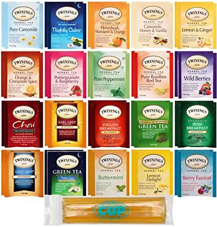 Amazon.com : Twinings Herbal & Decaf Tea Sampler 40 Ct Assortment with By The Cup Honeysticks : Grocery & Gourmet Food