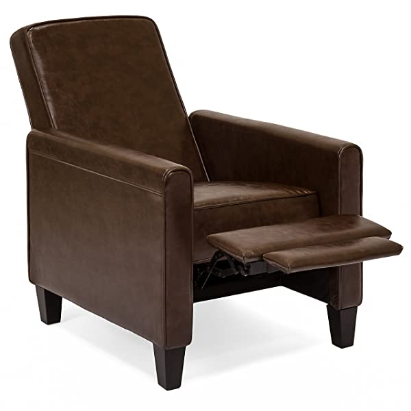 Best Choice Products Modern Sleek Upholstered PU Leather Padded Executive Recliner Club Chair w/Leg Rest - Brown