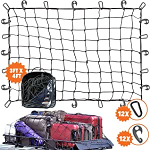 3'x4' Super Duty Bungee Cargo Net Stretches to 6'x8' for Oversized Rooftop Cargo Rack & Small Trucks | Narrow 3x3 Grid Holds Small & Large Loads Tighter | 12 Tangle-Free 3 Carabiners + 12 ABS Hooks