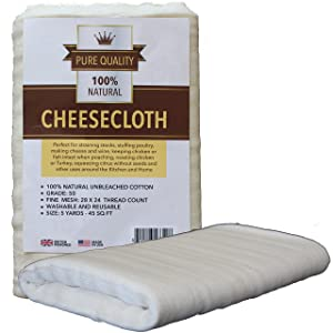 Cheesecloth :: Unbleached Grade 50 Natural Cotton Cheese Cloth - 45 Sq Ft - Best for Cooking Food, Cheesemaking, Straining, Basting Turkey - Washable and Reusable Strainer :: by Pure Quality