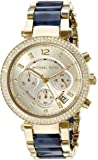Michael Kors Women's Goldtone Parker Watch With Navy Tortoise Acetate Center Links