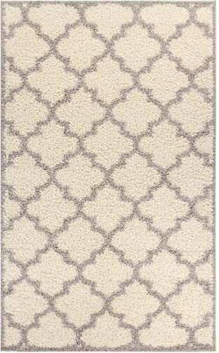 Blue Nile Mills Ashante Shag Area Rug, Plush, Extra-Thick Pile, Elegant, Shabby-Chic, Trellis, Jute Backing, Grey, 8 x 10