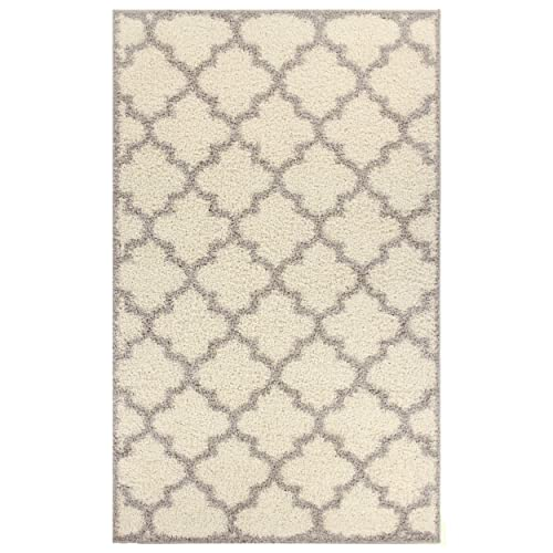 Blue Nile Mills Ashante Shag Area Rug, Plush, Extra-Thick Pile, Elegant, Shabby-Chic, Trellis, Jute Backing, Grey, 6 x 9