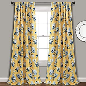 """Lush Decor, Yellow and Blue Tania Curtains   Floral Garden Room Darkening Window Panel Set for Living, Dining, Bedroom (Pair), 95"""" x 52, 95"""" x 52"""""""
