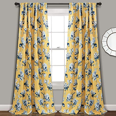 Amazon Com Lush Decor Yellow And Blue Tania Curtains Floral Garden Room Darkening Window Panel Set For Living Dining Bedroom Pair 84 X 52 Home Kitchen