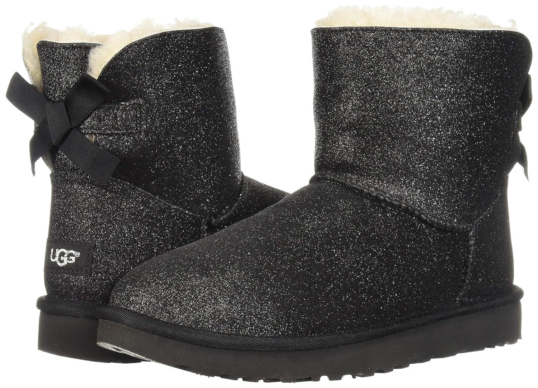 UGG Ugg Mini Bailey Bow Black Sheepskin And Glitter Ankle