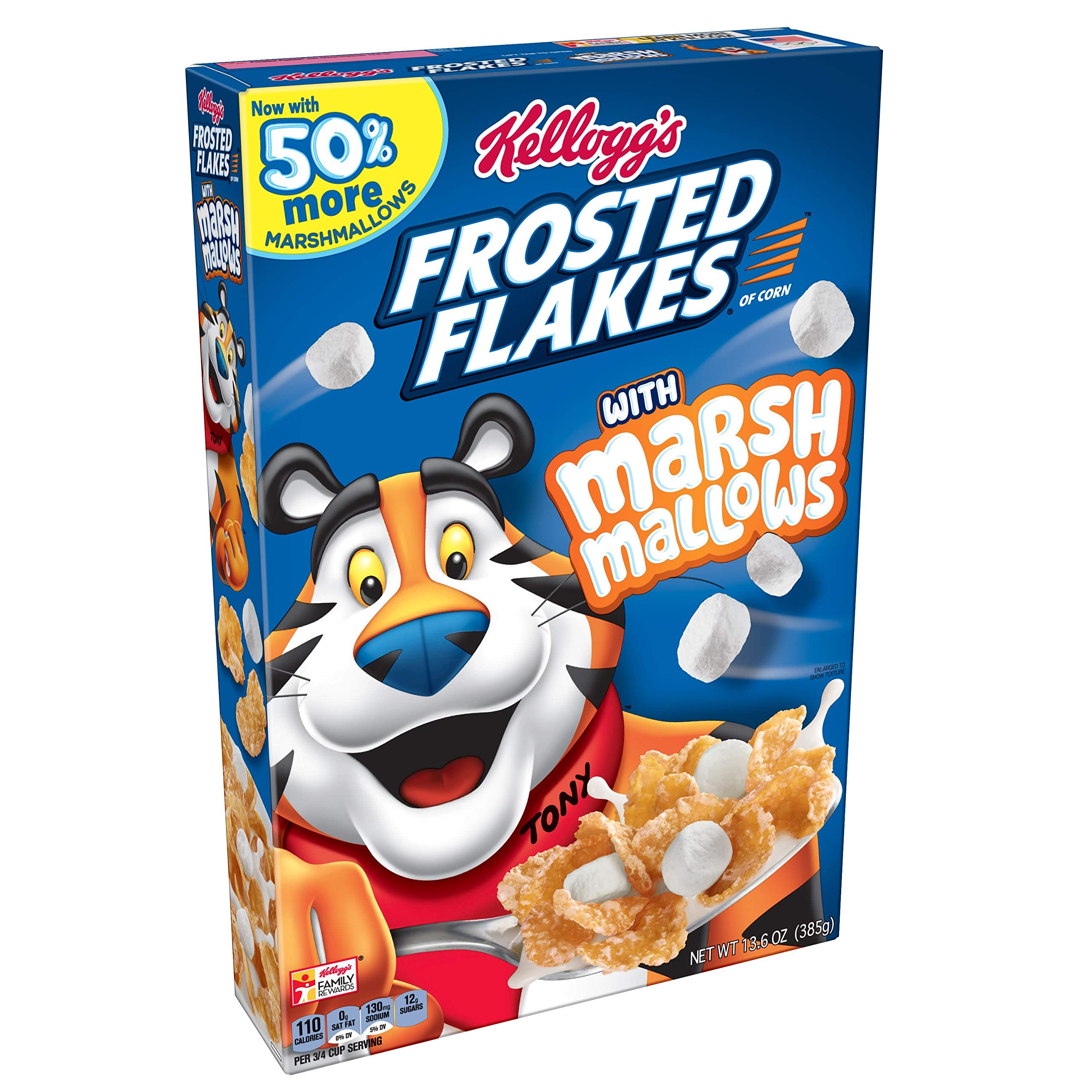 Kellogg's Breakfast Cereal, Frosted Flakes with Marshmallow, 13.6 oz Box(Pack of 12)