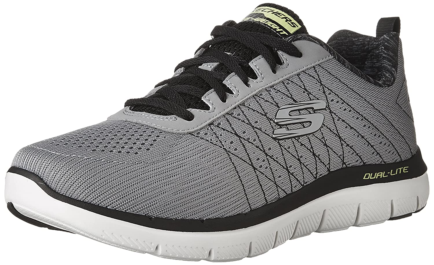 Skechers Flex Advantage 2.0-The Happs, Zapatillas de Entrenamiento para Hombre 44 EU|Gris (Light Grey/Black)