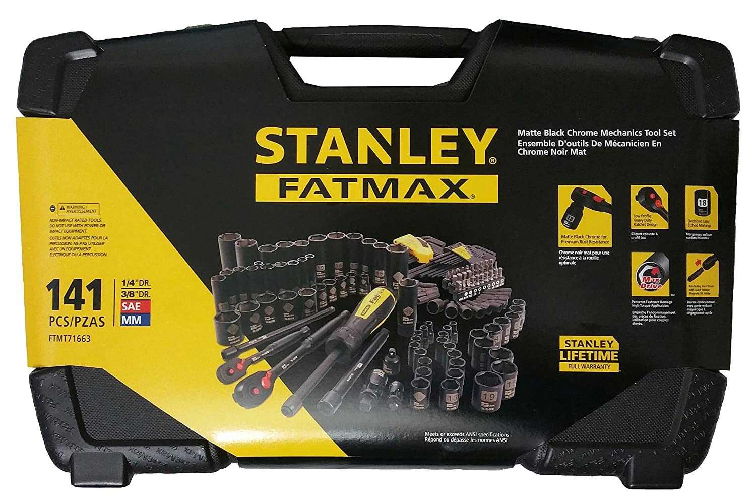 FAT MAX 141 Piece Matte Black Chrome Mechanic's Tool Set Fmmt71663 Stanley Black & Decker