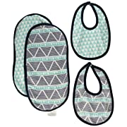 Bacati Liam Aztec Triangles Muslin 4 Piece Set of Burpies/Bibs, Aqua/Navy